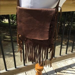 Leather Crossbody OOAK Handcrafted Primitive